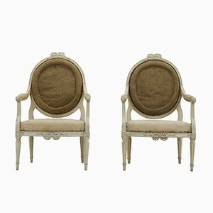 18th-Century French Painted Armchairs, Set of 2