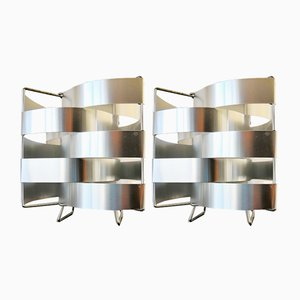 Modernist French Aluminum & Steel Table Lamps by Max Sauze, 1970s, Set of 2
