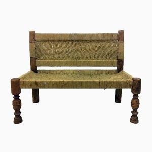 Sitzbank aus Holz & Seilgeflecht, 1960er