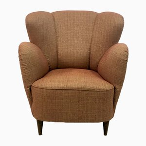 Italian Wood and Linen Lounge Chair, 1950s