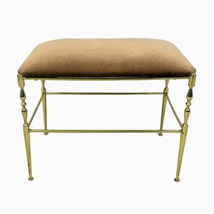 Brass and Fabric Stool, 1970s