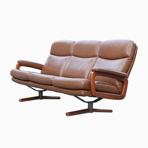 Sofá de cuero, acero y madera, años 50