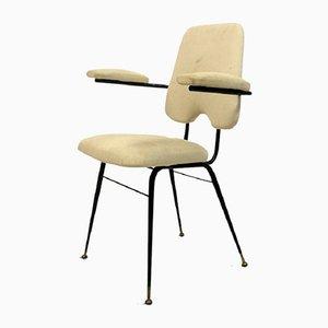 Silla de escritorio italiana de latón, tela y acero, años 60
