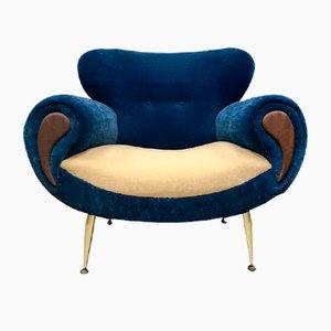 Blauer italienischer Mid-Century Sessel