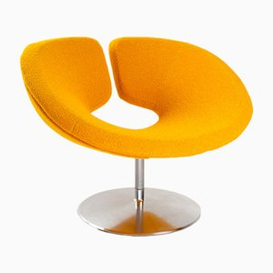 Sedia girevole modernista arancione di Artifort, anni '80