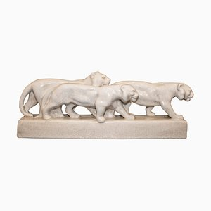 Art Deco White Ceramic Lioness Sculpture from Emaux de Louviere, 1930s