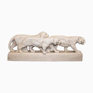 Weiße Art Deco Löwenskulptur aus Keramik von Emaux de Louviere, 1930er