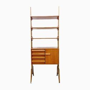 Dänisches Mid-Century Regalsystem aus Messing, Teak & Holz, 1960er