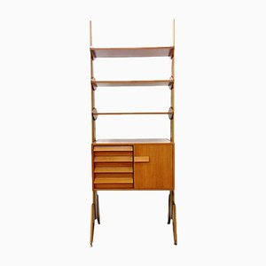 Mid-Century Danish Brass, Teak & Wood Wall Unit, 1960s