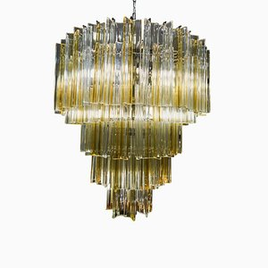 Mid-Century Italian Murano White and Yellow Crystal Chandelier by Paolo Venini, 1970s