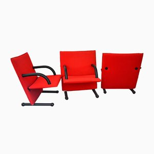 Italian T-Line Lounge Chairs by Burkhard Vogtherr for Arflex, 1980s, Set of 3