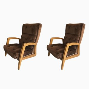 Vintage Brown Lounge Chairs, 1950s, Set of 2