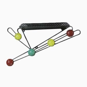Mid-Century French Metal Wall Coat Rack by Mathieu Matégot, 1950s