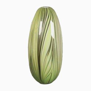 Jarrón italiano de cristal de Murano verde, años 50