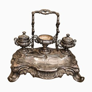 Louis XV Style French Silver-Plated Inkwell, 1840s