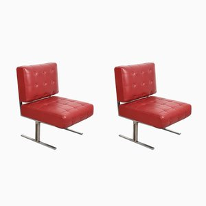 Italian Red Leatherette & Steel Chairs, 1950s, Set of 2