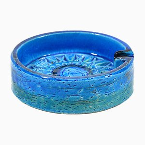 Blauer Rimini Aschenbecher aus Keramik von Aldo Londi für Bitossi, 1960er