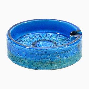 Posacenere Rimini in ceramica blu di Aldo Londi per Bitossi, anni '60