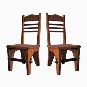 Chaises d'Appoint Basses Brutalistes, 1950s, Set de 2