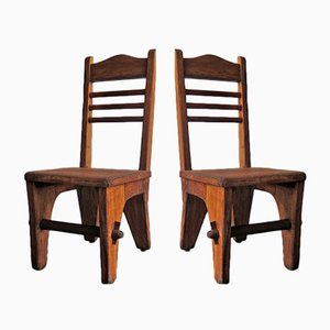 Low Brutalist Side Chairs, 1950s, Set of 2