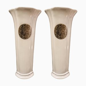 Mid-Century French White Flower-Shaped Porcelain Vases from Fabienne Jouvin