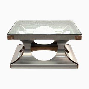 Mesa de centro francesa cuadrada de vidrio y acero de Francois Monnet, años 70