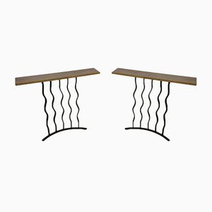 French Wrought Iron Console Tables, 1940s, Set of 2