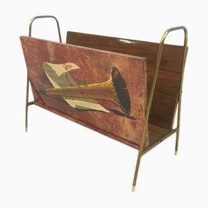 Vintage Italian Lacquered, Goatskin & Brass Magazine Rack