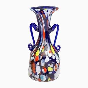 Vaso Art Nouveau vintage in vetro di Murano blu di Toso