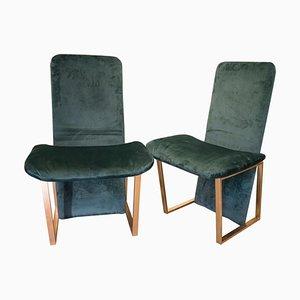 Mid-Century Green Upholstery & Brass Kazuki Chairs by Kazuhide Takahama, Set of 2