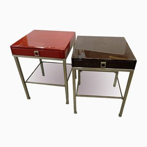 Modernist French Steel, Wood & Lacquer Side Tables by Guy Lefevre for Maison Jansen, 1970s, Set of