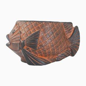 Jarrón Mid-Century grande en forma de pez de cerámica, años 70