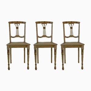 Antique Art Nouveau Beech Chairs, Set of 3