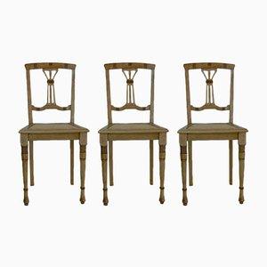 Antique Art Nouveau Beech Chairs, Set of 3