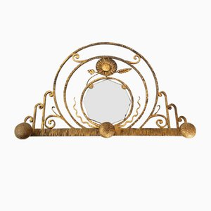 Art Deco French Coat Rack with Mirror, 1930s