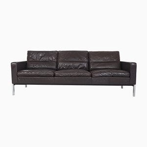 Conseta Chrome & Brown Leather Sofa by F. W. Möller for Cor, 1960s