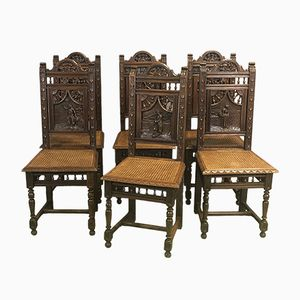 Carved Chestnut Dining Chairs, 1950s, Set of 6
