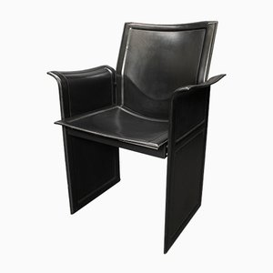 Black Leather Korium KM1 Chairs by Tito Agnoli for Matteo Grassi, 1970s, Set of 4