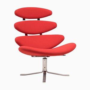 Roter EJ5 Corona Chair von Poul M. Volther für Erik Jorgensen, 1960er