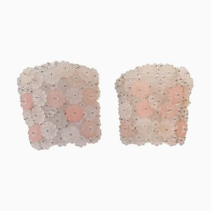 Apliques florales de cristal de Murano, años 50. Juego de 2