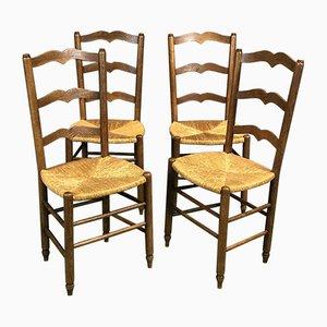 Sedie da pranzo rustiche in quercia e paglia, anni '50, set di 4