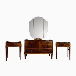 Vintage Danish Walnut Set with Dressing Table & 2 Nightstands, 1950s
