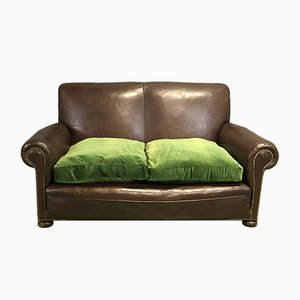 Vintage Sofa with Green Cushions, 1930s