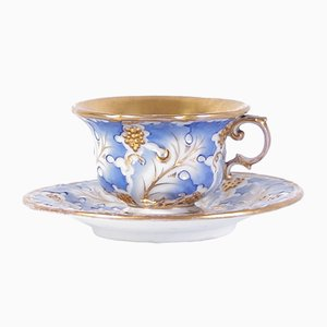 Antique Biedermeier Tea Cup & Saucer Set from Slavkov