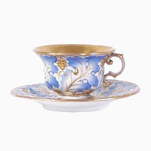 Juego de taza de té y platillo Biedermeier antiguo de Slavkov