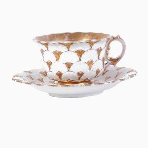 Set avec Tasses à Thé et Soucoupes Biedermeier Antiques par Tannawa