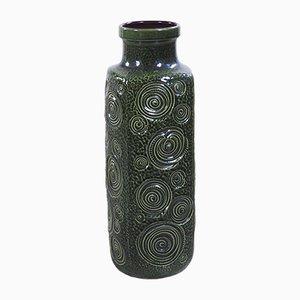 Große grüne Jura Keramikvase von Oswald Kleudgen für Scheurich, 1970er