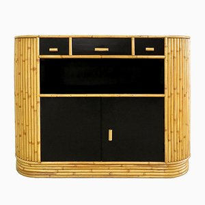 Rattan & Lacquer Wood Buffet, 1960s