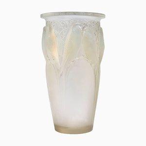 Jarrón Ceylan de vidrio opalescente de René Lalique, años 20