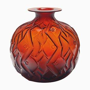 Penthièvre Amber Glass Vase by René & Suzanne Lalique, 1920s